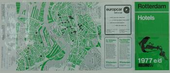 1978-2771 Kaart van Rotterdam met verwijzingen naar 36 hotels