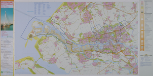 2001-673 Kaart van Rotterdam en omgeving met de territoriale indeling van Rotterdam. Indeling in ...