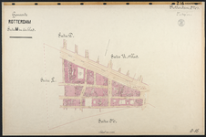 40110-Z16 Kadastrale kaart van Rotterdam, sectie M, in 1 blad: rond het Achterklooster. Het gebied wordt begrensd door ...