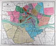 I-134-00-01 Plattegrond van Rotterdam met indeling in 37 wijken.