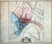 RI-60 Kaart van de gemeente Rotterdam waarop in kleuren de jurisdictie van de stad en de wijkindeling zijn aangegeven.