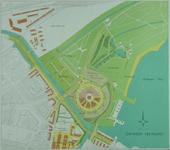 XIV-110-15 Kaart van het westelijke deel van het Kralingse Bos met een [niet uitgevoerd] ontwerp voor een nieuwe veemarkt