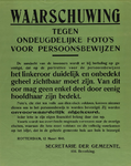 IA-1941-0018 Waarschuwing tegen ondeugdelijke foto's voor persoonsbewijzen. 12 Maart.