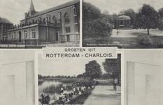 PBK-1108 Prentbriefkaart met 3 verschillende afbeeldingen van Oud-Charlois, voorstellende,1. Kerk aan de Charloisse ...