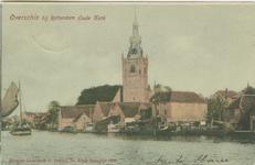 PBK-1987-102-5 De Nederlandse Hervormde Oude Kerk in Overschie, uit het westen, links het schip van aardappelhandelaar ...