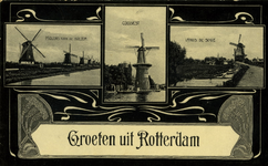 PBK-1992-44 Prentbriefkaart met 3 verschillende molens.Van links naar rechts:Links: Molens aan de Boezem.Midden: Molen ...
