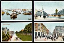 PBK-2001-56 Prentbriefkaart met vier afbeeldingen. Boven: Gezicht op de Nieuwe Maas, rechts de spoorbrug en de ...