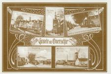 PBK-2006-3 Prentbriefkaart met 5 afbeeldingen van Overschie.Linksboven: Het Voorom.Midden: De Nederlandse Hervormde ...