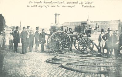 PBK-8832 De tweede Stoombrandspuit, genaamd de Maas in 1864 beproefd aan het Boerengat. Rotterdam.