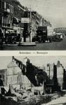 PBK-914 Twee afbeeldingen van de Boompjes van voor en na het bombardement van 10 mei 1940.Boven: Boompjes, vanuit het ...