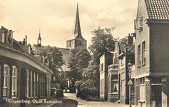 PBK-9746 De Kerkstraat met rechts de Nieuwe Kerkstraat. Op de achtergrond de Nederlandse Hervormde Hillegondakerk, uit ...