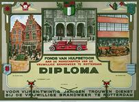 1971-1274 Diploma voor 25 jaar dienst bij de vrijwillige brandweer van Rotterdam.Boven: randen met wapens van Kralingen ...
