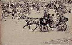 1972-2210 1940Verkeer in de zomer van 1940.Straatbeeld met veel rijtuigen met paarden ervoor.