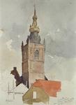 1973-4820 Gezicht op de kerktoren van de Nederlandse Hervormde Kerk aan de Overschiese Dorpsstraat, vóór de brand van ...