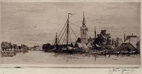 1981-428 De Nederlands-Hervormde Kerk te Overschie met op de voorgrond de Delftse Schie.
