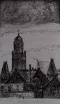 1983-56 Gezicht op de omgeving van Dijkzigt met de Remonstrantse Kerk aan de Mathensserlaan hoek van de Westersingel. ...
