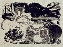 1984-1458 Gedenkplaat Rotterdam-BataviaWapens van Rotterdam en Batavia verwerkt in een symboliek van verbindingen per ...