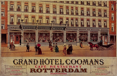 1984-77 Reclame van het Grand Hotel Coomans, met een deel van de voorgevel van het hotel in de Hoofdsteeg, nummers ...