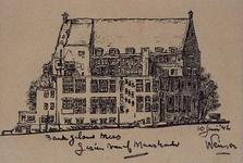 1985-1606 De achterzijde van het bankgebouw van de firma Mees & Hope aan de Wijnstraat. Gezien vanaf de Maaskade.