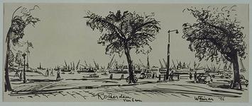 1985-1607 De kade bij de Veerhaven met uitzicht op de Nieuwe Maas.