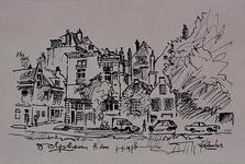 1985-1609 De Achterhaven en het Piet Heynsplein. Huizen aan de Westerzijde. Links de hoek met Tussenwater.