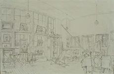 1985-1639 Het interieur van het atelier van de kunstenaar A.J.M. Weimar in de Prins Hendriklaand .
