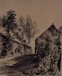 1985-1641 Boerderij uit 1559 aan de Nijverheidsstraat 167 in Capelle a/d IJssel en rechts de R.K. Schuurkerk.