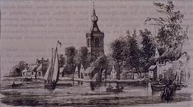 1990-332 Gezicht op N.H. kerk en huisjes aan de Delftse Schie.