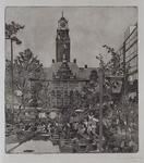 1991-1023 Stadhuisplein met terrasbezoek café's.