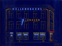 1991-922 Reclame met een neonverlichting van de firma Hellebrekers op het pand aan de Linker Rottekade 33b, hoek van de ...