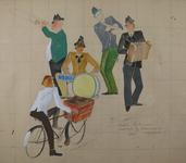 2000-1003-EN-1004 Karikatuur van een slagersjongen die op de fiets een groepje muzikanten passeert, bestaande uit een ...