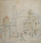 2000-1006 De binnenstad voor 1940 met de Sint-Laurenskerk en het stadhuis aan de Hoogstraat (Kaasmarkt)