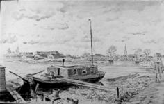 2001-782 Gezicht op de Rotte vanuit zuidwestelijke richting. Op de voorgrond een woonbootje, op de achtergrond de ...
