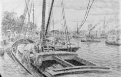 2001-783 Gezicht op de Oudehaven vanaf de Spaansekade.Op de voorgrond een binnenvaartschip met mannen aan het laden of ...