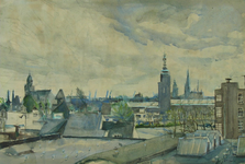 2005-1176 Gezicht op Museum Boijmans Van Beuningen en omgeving vanaf de Nieuwe Binnenweg. Links de Remonstrantse Kerk. ...