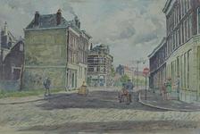 IX-1961-18 De Meermanstraat tussen Dirk Smitsstraat (voorgrond) en Van der Werffstraat (hoek midden). Op de achtergrond ...