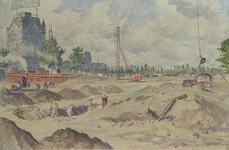 IX-2368-03 Gezicht op het opgebroken Oudehoofdplein, en op de achtergrond de afgedamde Oudehaven, uit het zuidoosten.