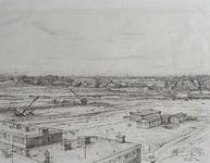 IX-2552-18-1 Overzicht van de Prins Alexanderpolder, waar een nieuwe woonwijk in aanleg is. Op de achtergrond de ...