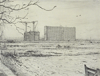 IX-2552-24 De Prins Alexanderpolder: de aanleg van de wijken Het Lage Land en Prinsenland vanaf het oude Kralingse kerkhof.
