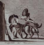 RI-1436 1787Spotprent op patriotten die worden voorgesteld als twee copulerende keeshonden..