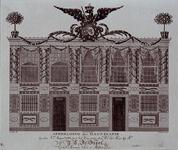 RI-1444-I 8 maart 1788Illuminatie voor het huis van mr. J.G. de Groot op het Haringvliet ter gelegenheid van de ...