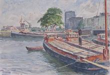 VII-183-23-25-1 Gezicht op het Haringvliet: van de Oudehaven uit het westen gezien met rechts de Spanjaardsbrug.