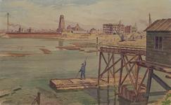 VII-292-03-28 Gezicht op de Leuvehaven bij de uitmonding van de Wijnhaven, uit het zuiden. Links de damwand in de ...