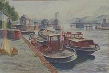 VII-449-00-10-10 Gezicht op de Oudehaven met de Koningsbrug, uit het noorden. Voorts gezicht op de Maasbruggen.