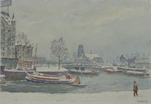 VII-449-00-10-28-07 De Oudehaven in sneeuw en ijs, gezien uit het zuiden. Links een fragment van het Witte Huis. Op de ...