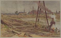 VII-468-18 Gezicht op het laatste gedeelte van de Scheepmakershaven, dat door een dam van de Leuvehaven gescheiden is, ...
