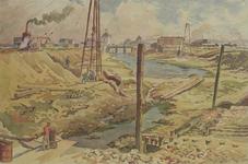 VII-468-19 Gezicht op het vergraven van de Scheepmakershaven, uit het westen. Op de achtergrond de Rederijbrug en het ...