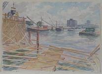 VII-468-38-42 De Scheepmakershaven met op de voorgrond de bouw van de verlengde op- en afritten van de Willemsbrug, ...