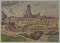 VII-503-14 Gezicht op de Steigersgracht met de bouw van bruggen bij de Blaak, uit het zuiden. Op de achtergrond de Sint ...