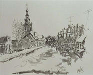 VIII-89-23-23-25 Gezicht op de Rotterdamse Schie, links Kleinpolderkade en rechts Zestienhovensekade, uit het oosten.